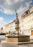 Historic fountain in Görlitz. GOERLITZ, GERMANY - AUGUST 23: The Georgsbrunen fountain in Goerlitz, Germany on August 23, 2016. The historic town of Goerlitz royalty free stock photos