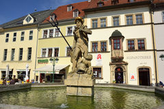 Historic fountain on Markt square in Weimar Stock Photography