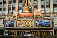 Historic Fox Theater In Detroit Michigan. Detroit, Michigan, USA - March 28, 2018: Exterior of the historic Fox Theater in downtown Detroit. The Fox opened in stock image