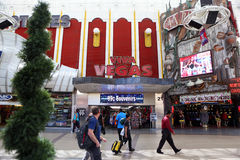 Historic Fremont Street in Las Vegas. Historic Fremont Street Experience and neon casino signs are shown in Las Vegas Royalty Free Stock Photos