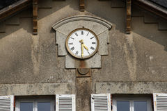Historic French Clock. Clock on wall of historic french chateau mansion house Stock Images
