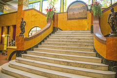 Historic gadsden hotel marble staircase background old Stock Photos