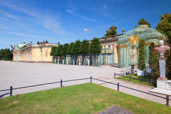 Historic gardens and Sanssouci palace, architecture in Potsdam Stock Images