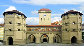 Historic gate in the old town of munich Stock Image