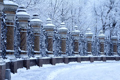 Historic gates. Large historic gate in winter stock images