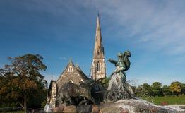 Gefion Fountain opened 1908 in Copenhagen Denmark. Historic Gefion Fountain opened in 1908 by St Alban`s church in Copenhagen in Denmark Stock Images