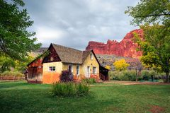 Historic Gifford farmhouse in Capitol Reef National Park stock images