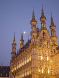 Historic gothic cathedral at night. Exterior of historic gothic cathedral illuminated at night Stock Photos