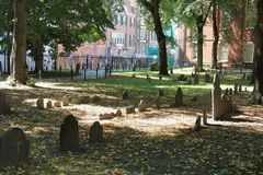 Historic Granary Burying Ground in Boston, MA royalty free stock photography