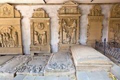 Historic gravestones in cemetery of medieval city marktbreit Stock Image