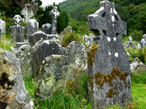Historic graveyard in Ireland. Creepy old cemetery in Ireland Royalty Free Stock Images