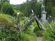 Historic graveyard in Ireland. Creepy old cemetery in Ireland Royalty Free Stock Photography