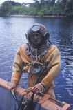 Historic Greek sponge diver. In antique diving suit dives for sponges in Tarpon Springs FL stock image