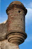Historic gun tower of Castillo de San Marcos, fort in St. Augustine. With blue sky Royalty Free Stock Images