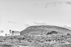 Historic gunpowder magazine in Victoria West. Monochrome. VICTORIA WEST, SOUTH AFRICA, AUGUST 7, 2018: An historic gunpowder magazine in Victoria West in the royalty free stock image