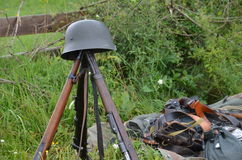 Historic guns delayed on the meadow. Historic guns (ww2) delayed on the meadow Stock Images