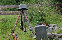 Historic guns (ww2) on the meadow. Historic guns (ww2) delayed on the meadow Stock Photo