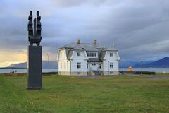 Reykjavik at Sunset, Western Iceland - Historic Hofdi, Höfði House on the Waterfront of the Icelandic Capital