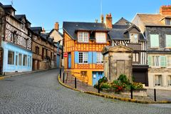Historic half timbered buildings in Honfleur, France. Historic half timbered buildings in the beautiful town of Honfleur, France stock photo