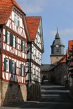 Historic half-timbered houses in Herleshausen Germany. The Historic half-timbered houses in Herleshausen Germany Royalty Free Stock Image