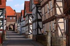 Historic half-timbered houses in Herleshausen Germany. The Historic half-timbered houses in Herleshausen Germany Stock Image