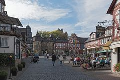 Historic half-timbered houses at the market square in the old to. Wn Braunfels, Hessen, Germany stock photo
