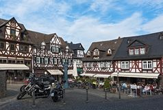 Historic half-timbered houses at the market square in the old to. Wn Braunfels, Hessen, Germany royalty free stock photos