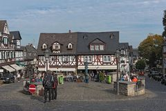Historic half-timbered houses at the market square in the old to. Wn Braunfels, Hessen, Germany stock images