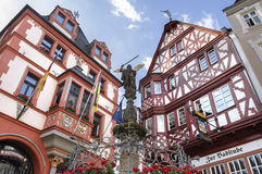 Historic half-timbered houses and Michael Fountain Royalty Free Stock Photo
