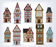 Historic half-timbered houses vector illustration