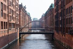 Historic Hamburg Canal Royalty Free Stock Photography