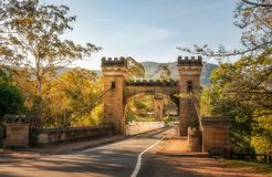 Historic Hampden Suspension Bridge - Kangaroo Valley. Kangaroo Valley, New South Wales, Australia -October 5, 2015: Hampden Bridge is a historic suspension stock images