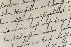 Historic Handwriting Style on Hand-Made Paper. Vintage individual handwriting on hand-made paper royalty free stock photography