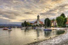 Historic Harbor of Wasserburg at Lake Constance Stock Photography