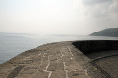Historic harbour of Lyme Regis with Cobb wall in Dorset Stock Image