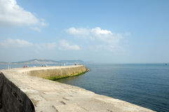 Historic harbour of Lyme Regis with Cobb wall in Dorset Stock Photos