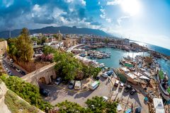 Historic harbour and the old town in Kyrenia Girne on the Nort Royalty Free Stock Photos