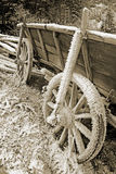 Historic hay cart, covered with ice needles Royalty Free Stock Image