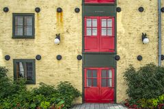 Old histoic house in Old Quebec. Historic heart of Quebec City turned into Chez Muffy restaurant is a family style farm-to-fork dining experience our guests have royalty free stock image