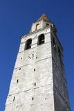 Historic high Bell Tower of the town of AQUILEIA seen from below Royalty Free Stock Images