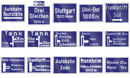 Historic Highway Direction Signs In Germany Stock Photography