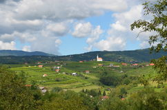 Historic hillsides, Slovenia. Lovely view of the rolling hills in historic Metlkia, Slovenia.  Viewed from the village of Drasici Stock Photography