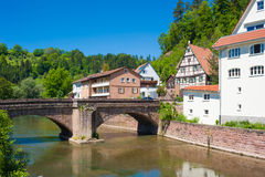 The historic Hirschbrücke with river Nagold in Wildberg Royalty Free Stock Image