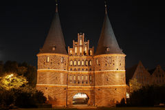 The historic Holstentor of Luebeck by night Royalty Free Stock Photo