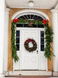Historic home with Christmas decorations royalty free stock photos