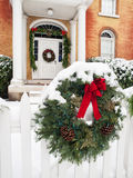 Historic home with Christmas decorations royalty free stock photography