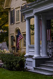 Historic Homes and the American Flag - Woodstock, Vermont Royalty Free Stock Images