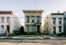 Historic homes, Dayton Street in Cincinnati. Old mid-19th century row houses along the Dayton Street Historic District in the Over-the-Rhine neighborhood in royalty free stock image