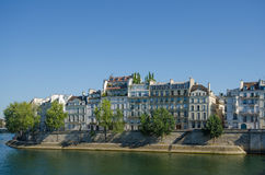 Historic homes on Ile St-Louis overlooking the Seine Stock Image