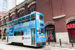 Historic Hong Kong Tram in Central District Royalty Free Stock Image